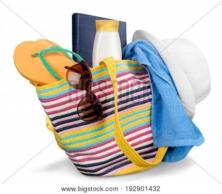 Color colorful bag summer beach close up suntan lotion