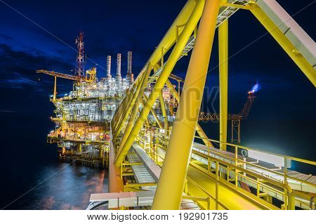 Oil and Gas central processing platform in the gulf of Thailand produced natural gas and liquid condensate for set to onshore petrochemical plant.
