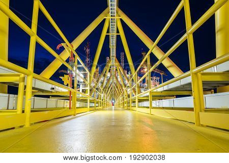 Bridge platform connected between accommodation platform and gas central processing platform oil and gas industry plant at offshore.