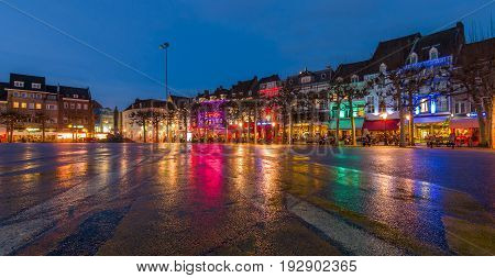 MAASTRICHT NETHERLANDS - JANUARY 13 2016: Evening Maastricht. The historic center Vrijthof. Maastricht is the oldest city of the Netherlands and the capital city of the province of Limburg.