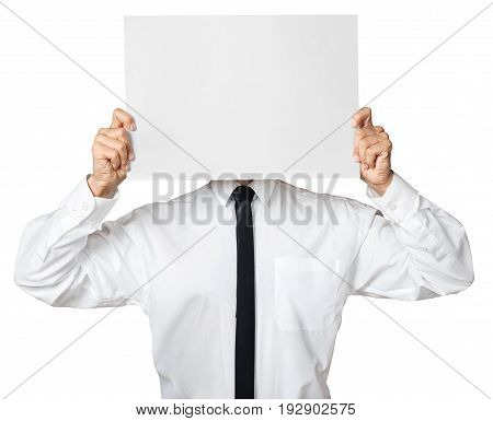 Paper business blank hold businessman sheet white