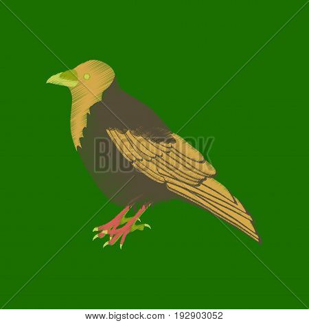 flat shading style icon raven nature animal