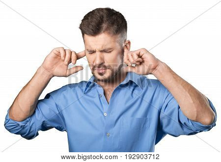 Man hands ears background isolated beautiful person
