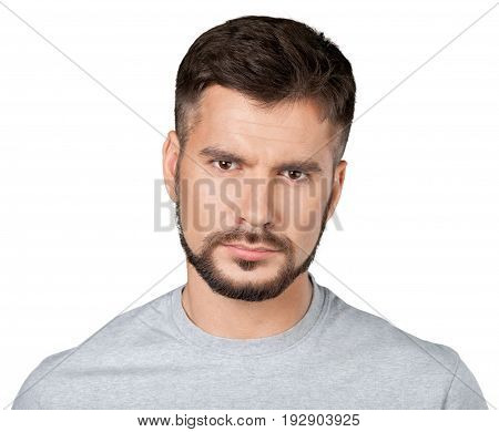 Man expression facial handsome isolated happy person