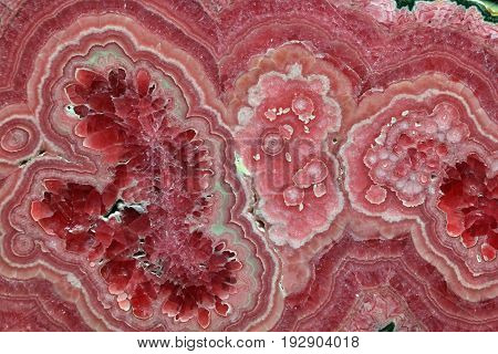 Pink Red Rhodochrosite Stone Structure Close Up