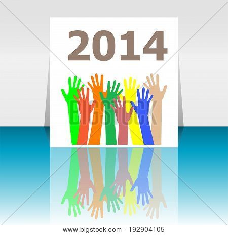 Text 2014. Time Concept . Human Hands Silhouettes