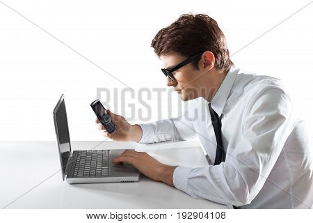 Computer man laptop white background isolated happy