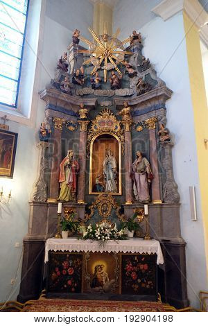 KRAPINA, CROATIA - APRIL 21: Our Lady of Lourdes altar in the church of Saint Catherine of Alexandria in Krapina, Croatia on April 21, 2016.