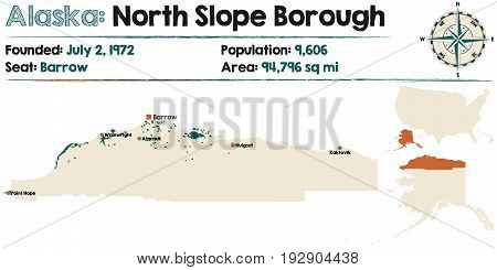 Large and detailed map of North Slope Borough in Alaska