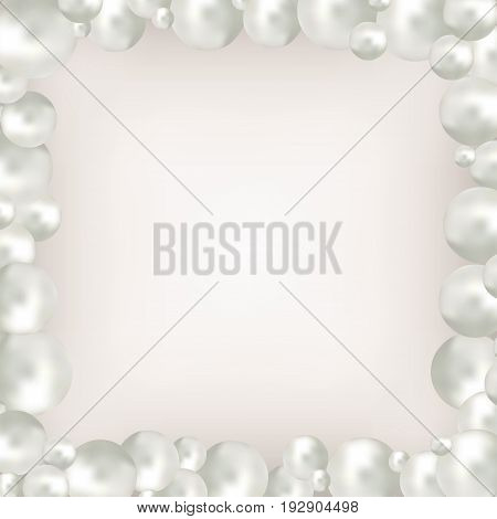 Pearl beads frame on beige background. Jewellery bracelet necklace . Wedding invitation white pearls background. Vector illustration. Clipping mask used easy editable