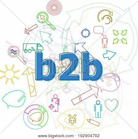Text B2B. Web Desing Concept . Simple Infographics Thin Line Icons Set