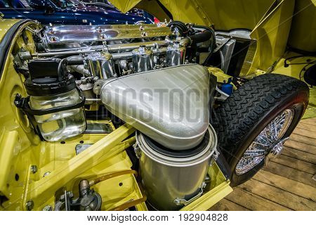 MAASTRICHT NETHERLANDS - JANUARY 14 2016: Engine compartment Jaguar E-Type Series I coupe 1963. International Exhibition InterClassics & Topmobiel 2016