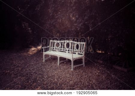 Blur image Old wooden chair in the garden on green leaves background Vintage tone.