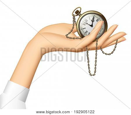 Woman's hand holding a retro pocket watch with chain