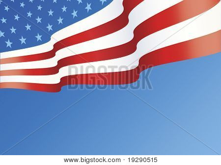 Horizontal design of American Flag layout with copy space below
