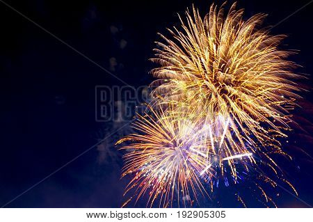 4Th July Fireworks. Fireworks Display On Dark Sky Background. Independence Day, 4Th Of July, Fourth