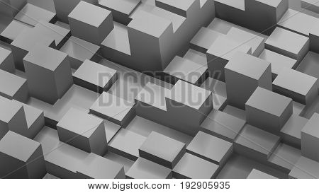 Abstract Background Of Cubes And Parallelepipeds In Gray Colors