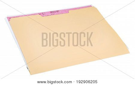 Document folder manila yellow white background object