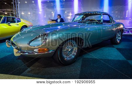 MAASTRICHT NETHERLANDS - JANUARY 14 2016: Sports car Jaguar E-Type Series I. International Exhibition InterClassics & Topmobiel 2016