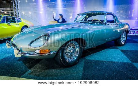 MAASTRICHT NETHERLANDS - JANUARY 14 2016: Sports car Jaguar E-Type Series I coupe. International Exhibition InterClassics & Topmobiel 2016