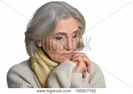 Portrait of a beautiful sad elderly woman, close up