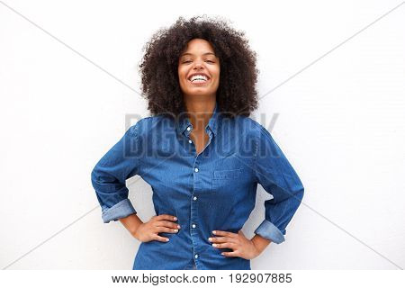 Happy Friendly Woman Smiling On Isolated White Background