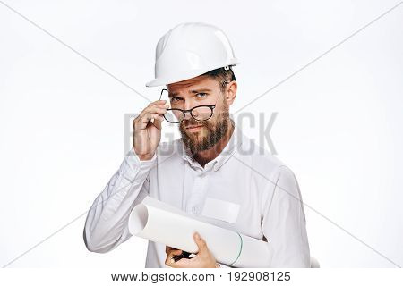 Engineer with beard on white isolated background, builder.