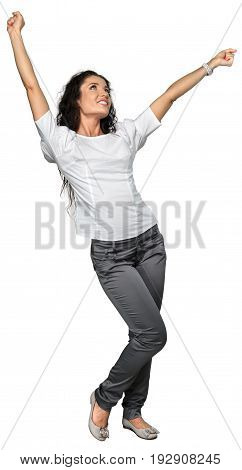 Beautiful girl arms arms outstretched white background isolated