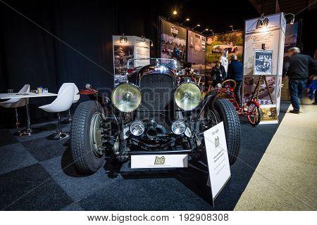 MAASTRICHT NETHERLANDS - JANUARY 14 2016: Vintage car Lagonda 3 Litre Open Tourer Special 1934. International Exhibition InterClassics & Topmobiel 2016