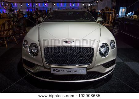 MAASTRICHT NETHERLANDS - JANUARY 14 2016: Personal luxury car Bentley Continental GT V8S since 2016. International Exhibition InterClassics & Topmobiel 2016