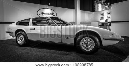 MAASTRICHT NETHERLANDS - JANUARY 14 2016: Sports car Maserati Indy (Tipo AM 116). Giovanni Michelotti at Vignale-designed body. Black and white. International Exhibition InterClassics & Topmobiel 2016