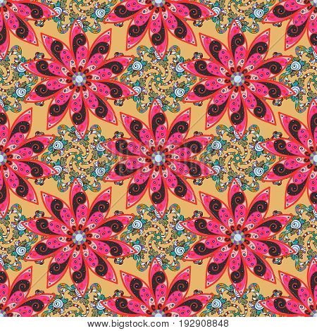 Elegant seamless pattern with decorative flowers in colors. Vector floral pattern for wedding invitations greeting cards scrapbooking print gift wrap manufacturing fabric and textile.