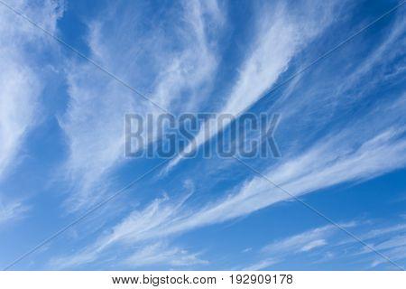 Wispy white clouds across bright blue sky