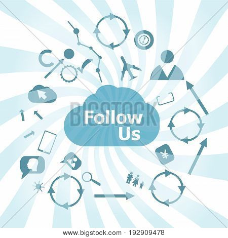 Text Follow Us. Social Concept . Set Of Web Icons For Business, Finance And Communication