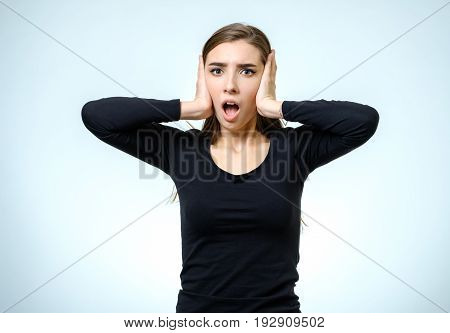 Beautiful Young Woman With A Fear Expression