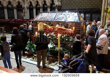 ZAGREB, CROATIA - APRIL 14: Worshippers gather to look at the relics of Blessed Aloysius Stepinac in Zagreb cathedral, Zagreb, Croatia on April 14, 2016.