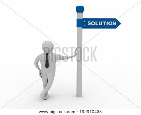 3d man with directional sign solution . 3d rendered illustration