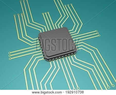 mother board with chip components background , 3d renderd illustration