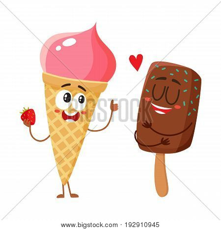 Two funny ice cream characters - strawberry cone and chocolate popsicle, cartoon style vector illustration isolated on white background. Two cute smiling strawberry and chocolate ice cream characters