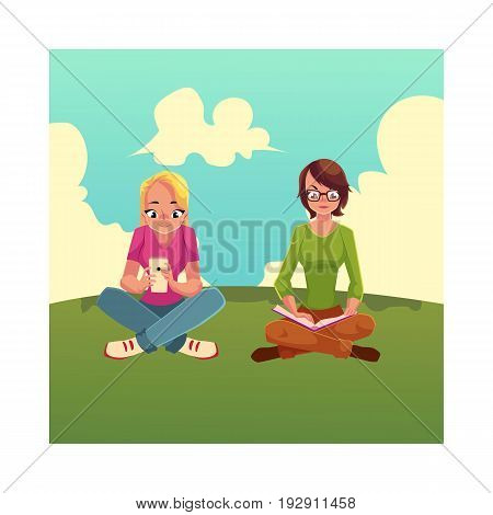 Two girls siting crossed legs, one reading book on the grass, another using mobile phone, cartoon vector illustration isolated on white background. Girls women using analogue and digital media sitting