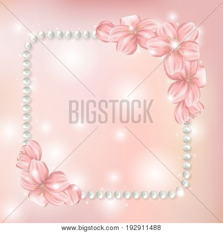 Pearl beads frame on shiny pink background with bokeh. Jewellery bracelet necklace with sakura cherry flowers. Vector illustration