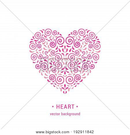 Ornamental pink heart made of swirls and leaves. Romantic retro style flourish emblem. EPS 10 vector illustration. Valentine's day card design template. Isolated on white background.