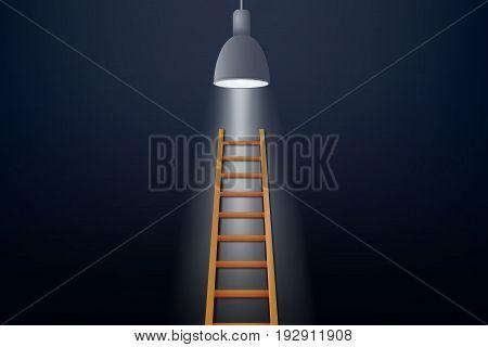 Ladder of Success Concept : Brown ladder up to light bulb. (3D Illustration)