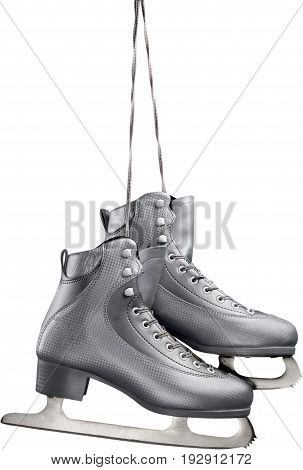 White isolated figure skate sport leisure color