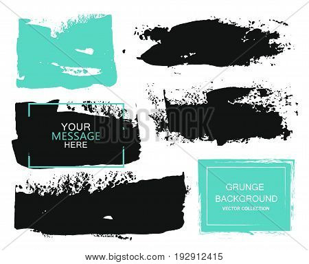 Set of black and turquoise paint ink brush strokes brushes lines. Dirty artistic design elements boxes frames for text
