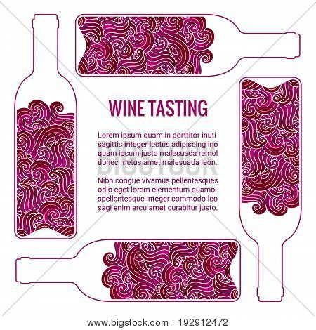 Wine tasting squared card. Stylized bottle with swirls inside. Brochure design template.EPS 10 vector illustration. Isolated.