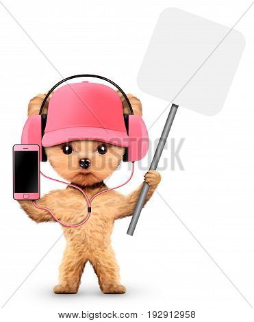 Funny dog listening to music on headphones on smartphone and holding a banner. Concept of sport and fitness. Realistic 3D illustration.