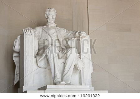 Lincoln Memorial in Washington DC. View of entire sculpture.