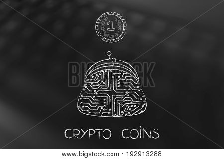 Crypto Coin With Electronic Circuits Inside And Microchip Purse