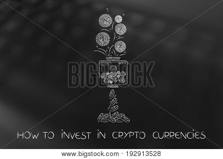 Crypto Coin With Electronic Circuits Processed Into Normal Money